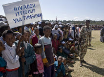 Kinder, die eine HIV-Fahne anhalten Stockbilder
