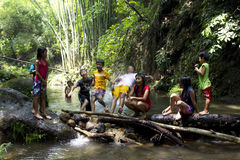 Kinder, die in einem Fluss spielen stockfotografie