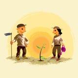 Kinder, die einen Baum pflanzen Stockbild