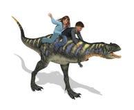 Kinder, die einen Dinosaurier reiten Stockbilder