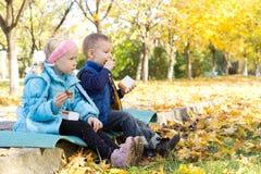 Kinder, die einen Imbiß in einem Herbstpark essen Lizenzfreies Stockbild