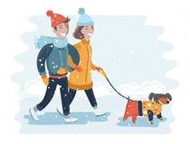 Kinder, die einen Schneemann auf einer sonniger Tagesvektorillustration machen Lizenzfreie Stockfotos