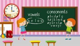Kinder, die Englisch im Klassenzimmer studieren vektor abbildung