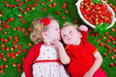 Kinder, die Erdbeere essen stockfoto