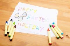 Kinder, die für Ostern-Feiertag zeichnen Lizenzfreies Stockfoto