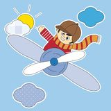 Kinder, die Flugzeuge fliegen Lizenzfreie Stockfotos