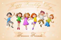 Kinder, die Freundschafts-Tag feiern Stockfoto