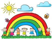 Kinder, die Hände anhalten stock abbildung