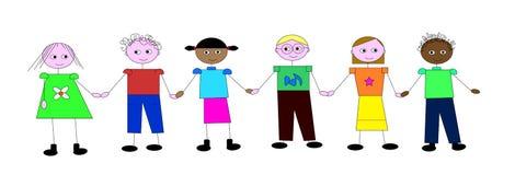 Kinder, die Hände auf weißem Hintergrund anhalten Lizenzfreie Stockfotografie