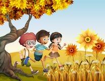 Kinder, die am Hügel mit Sonnenblumen laufen vektor abbildung