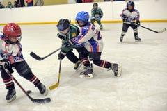 Kinder, die Hockey spielen Stockfotografie