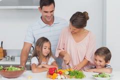 Kinder, die ihre Mutter betrachten, die Gemüse vorbereitet Stockbilder