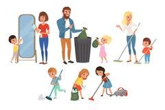 Kinder, die ihren Eltern mit Hausarbeit helfen Fegen, Staub saugend, waschender Boden und heraus werfen Abfall, Reinigungsspiegel vektor abbildung