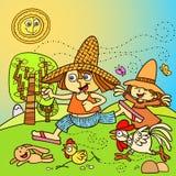 Kinder, die im Bauernhof spielen Stockbild