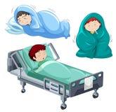 Kinder, die im Bett krank sind stock abbildung