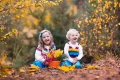 Kinder, die im Herbstpark spielen Lizenzfreie Stockbilder