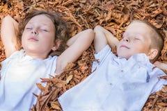 Kinder, die im Laub sitzen Stockbild