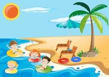 Kinder, die im Meer schwimmen lizenzfreie abbildung