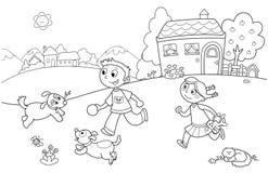 Kinder, die mit Hunden spielen stock abbildung