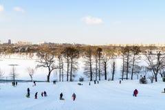 Kinder, die mit Schnee nach Schneefällen am Winter-Tag in Tineretului-Park von Bukarest spielen Lizenzfreies Stockfoto