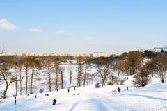 Kinder, die mit Schnee nach Schneefällen am Winter-Tag in Tineretului-Park von Bukarest spielen Stockfotos