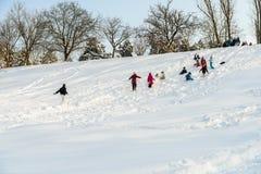 Kinder, die mit Schnee nach Schneefällen am Winter-Tag in Tineretului-Park von Bukarest spielen Lizenzfreie Stockfotografie