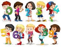 Kinder, die Nr. null bis neun halten Stockbild