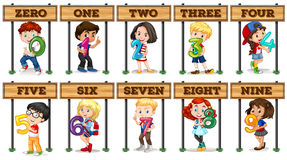 Kinder, die Nr. null bis neun halten Stockfoto