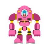 Kinder, die Roboter kämpfen Wenig Mädchen Exoskeleton Roboterskelett der mechanischen Technologie Eisenklagenroboter Metallische  stock abbildung