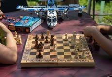 Kinder, die Schach im Garten mit unscharfen Spielwaren auf Hintergrund spielen stockbild