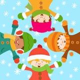 Kinder, die Schnee feiern Lizenzfreie Stockbilder