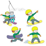 Kinder, die Snowboard reiten stock abbildung