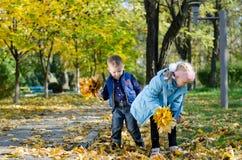 Kinder, die Spaß haben, Herbstblätter zu montieren Lizenzfreie Stockfotos