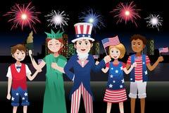 Kinder, die Viertel von Juli feiern Stockfotografie