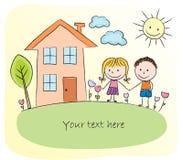 Kinder, die vor dem Haus spielen lizenzfreie abbildung