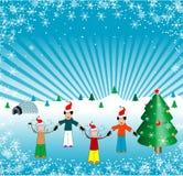 Kinder, die Weihnachten feiern Stockfotos