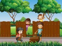 Kinder, die Zaun im Park reparieren vektor abbildung