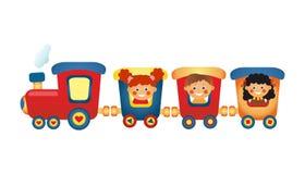 Kinder, die Zug auf weißen Hintergrund reiten Stockfotografie