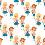 Kinder, die zusammen Grundschulausbildungscharakter-Vektors der Kindheit der Schulkindergehendes Studie nahtloses Muster des glüc Stockfotografie