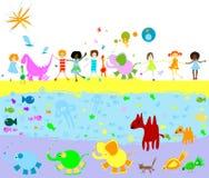 Kinder, Dinosauriere und anderes litt vektor abbildung