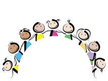 Kinder in einem Kreis lizenzfreie abbildung