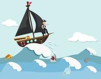Kinder in einem Piratenboot Stockbild
