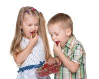 Kinder essen Erdbeere stockfoto