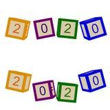 Kinder färben Würfel mit Buchstaben 2020-jährig vektor abbildung