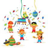 Kinder feiern Posada und brechen lizenzfreie abbildung