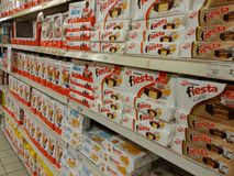 Kinder and Ferrero in supermarket Royalty Free Stock Photo