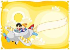 Kinder fliegen mit dem Flugzeug mit Fahnenillustration lizenzfreie abbildung