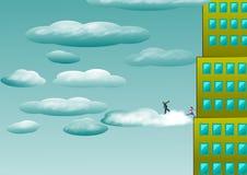 Kinder gehen zu den Wolken von einem Wolkenkratzer Lizenzfreie Abbildung