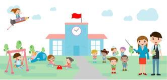 Kinder gehen zur Schule, zurück zu Schulschablone mit Kindern, Lehrer und Studenten, Kinder und Spielplatz Stockfotos