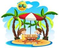 Kinder genießen das Mittagessen am Strand vektor abbildung